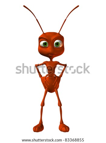 3D Rendering little red ant