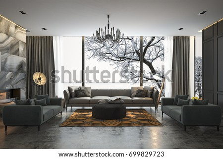 3d rendering living room with sofa near winter scene outside window