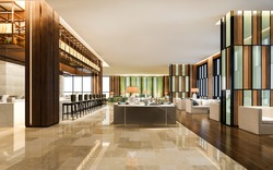 3d rendering loft and luxury hotel lounge with counter