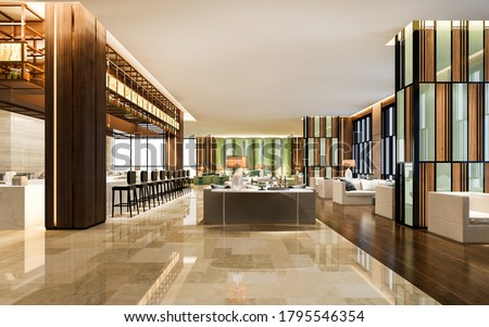 3d rendering loft and luxury hotel lounge with counter Сток-фото ©