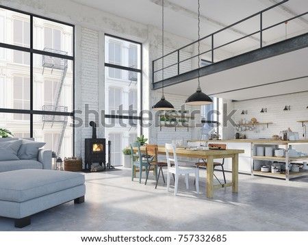 3d rendering. loft apartment with living room and kitchen.