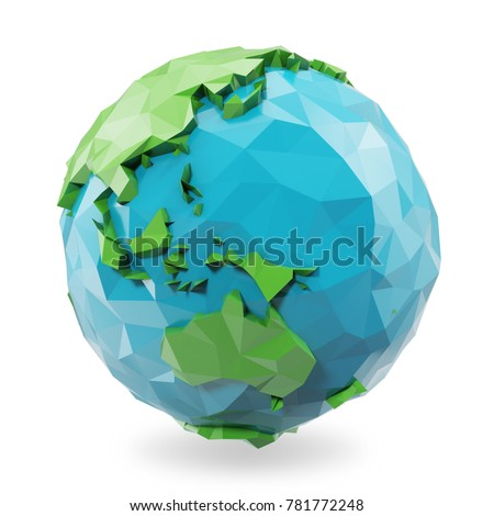 3D Rendering low poly earth globe illustration. Polygonal globe icon, low poly style.