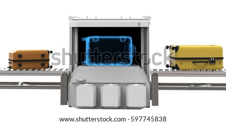 3d rendering luggage scanner on white background