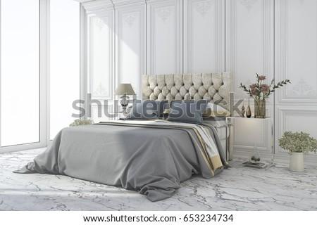 3d rendering luxury blue bed in ...