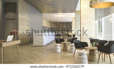 3d rendering luxury hotel reception and lounge