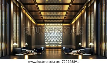 3D Rendering luxury lobby Hotel