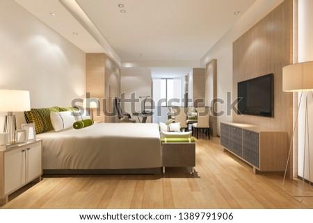 3d rendering luxury modern bedroom suite in hotel #1389791906