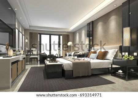 3d rendering luxury modern bedroom suite in hotel #693314971