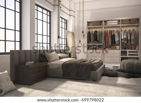 3d rendering luxury modern bedroom suite with wardrobe and walk in closet