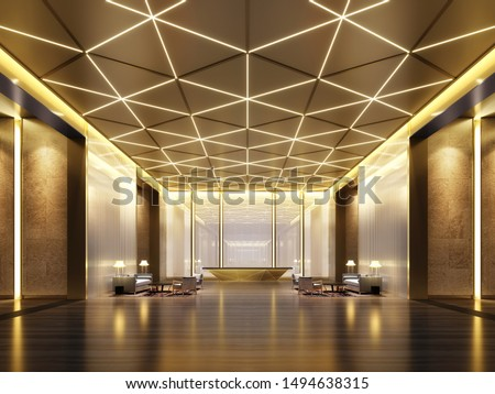 3D Rendering luxury Reception Hall and lobby area