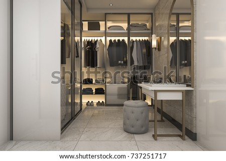 3d rendering make up and dressing table between walk in closet with golden decor