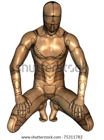 3D Rendering man sitting in metal