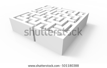 3d rendering maze, blank square maze template, labyrinth for ...
