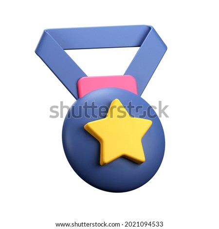 3d rendering medal with star icon