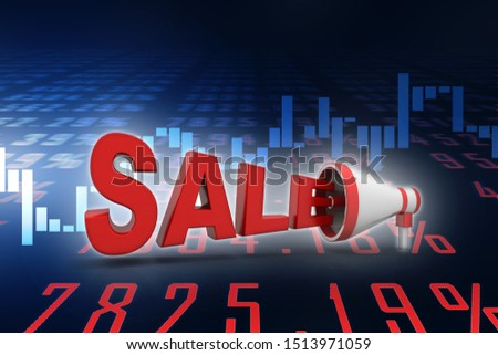 3d rendering megaphones announce sale