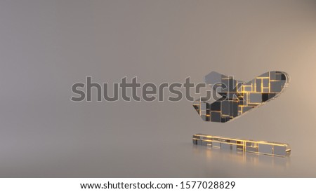 3d rendering metal techno rectangular geometric greeble symbol of plane departure on runway surface icon with glowing lines with blurred reflection floor on light background