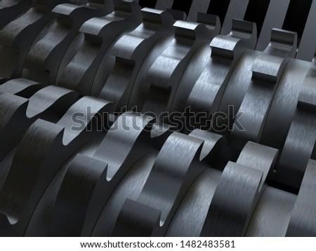 3D rendering - metallic shredder blades Foto stock ©
