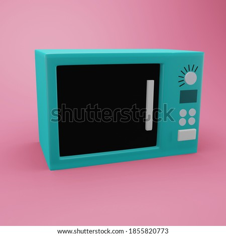 3D rendering microwave illustration. Isolated 3d microwave icon. Colorful 3d microwave illustration