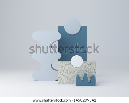 3d rendering, minimal abstract background in blue pastel colors. Minimal scenery with textured shapes and podium. Terrazzo layers and curved shapes to show products. Scene with geometric forms.