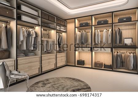 3d rendering minimal loft luxury wood walk in closet with wardrobe