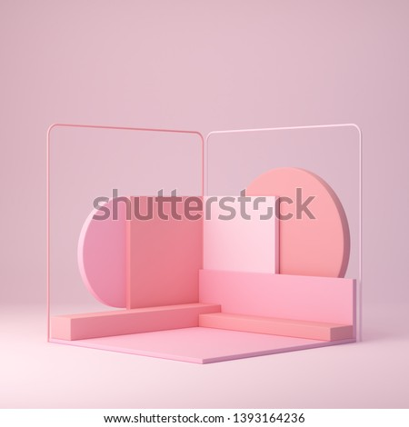 3d rendering, minimal scene with pink trendy shapes in abstract geometric background, modern mock up, corner podium, blank template, pink shapes and platform, empty showcase, shop display, pastel pink