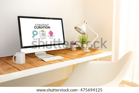 3d rendering minimalist workspace with computer with Content curation graphic. 3d illustration. all screen graphics are made up.