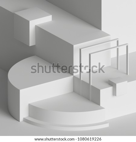 3d rendering, modern abstract geometric background, minimalistic empty showcase, art deco mock up, white primitive shapes, shop display