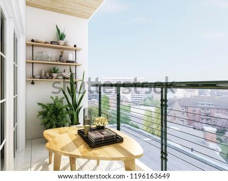 3D rendering,Modern balcony design, green plants make the balcony full of life