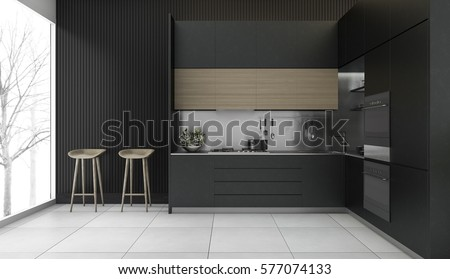 3d rendering modern dark wood kitchen with winter view