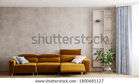 3D rendering Modern living room with yellow mustard sofa. Beige stucco plaster wall without frame. plant and shelves. Blue ellements Сток-фото ©