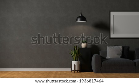 3D rendering, modern loft living room interior design with couch, table, lamp, frame, decorations and copy space, 3D illustration