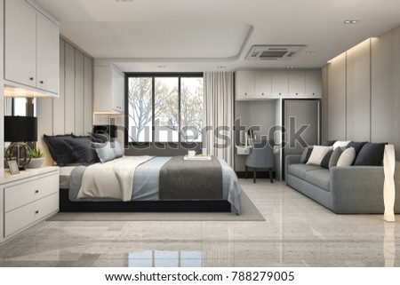 3d rendering modern luxury blue bedroom with marble decor #788279005