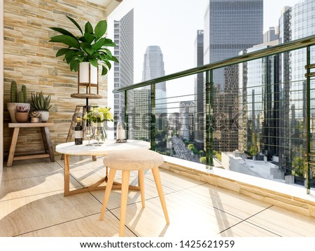 3D rendering,Modern outdoor balcony with high-rise residential buildings, all kinds of flowers and plants, good lighting
