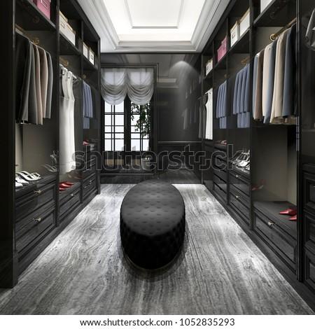 3d rendering modern scandinavian white wood walk in closet with wardrobe