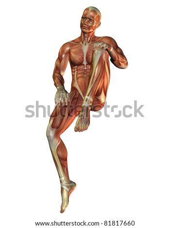 3D Rendering Muscle man in a sitting posture