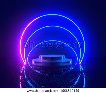 3d rendering, neon light, glowing lines, ultraviolet, stage, portal, circle portal, pedestal, virtual reality, abstract background, red blue spectrum, vibrant colors, laser show.