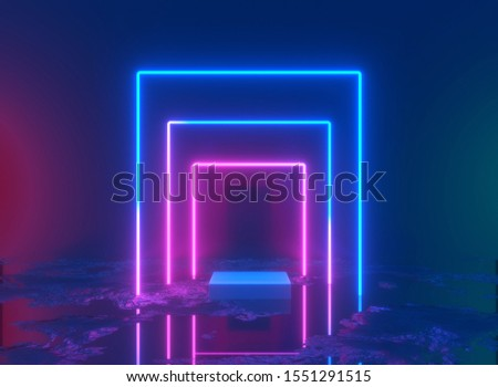 3d rendering, neon light, glowing lines, ultraviolet, stage, portal, square portal, pedestal, virtual reality, abstract background, red blue spectrum vibrant colors laser show