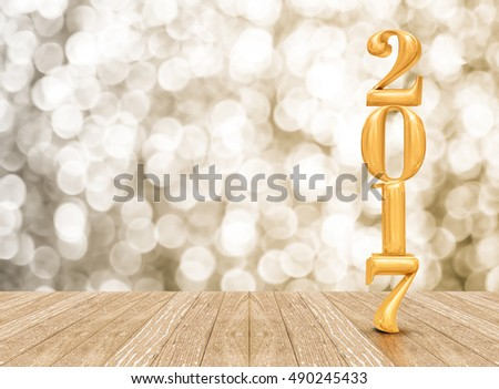 2017 (3d rendering) new year gold color  in perspective room with sparkling bokeh wall and wooden plank floor,leave space for display of product,Holiday background #490245433