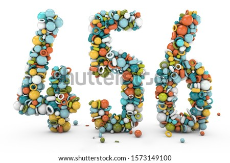 3D rendering numbers 4 5 6. Figures and symbols. Colorful balls. Multicolor shapes. number four, number five, number six