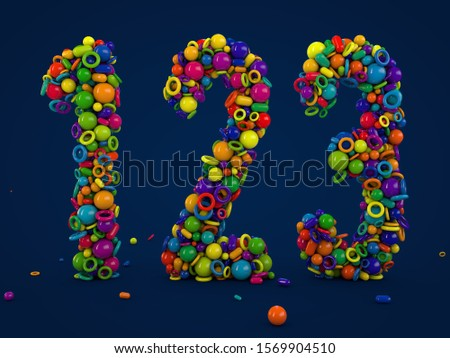 3D rendering numbers 1 2 3. Figures and symbols. Colorful balls. Multicolor shapes. number one, number two, number three