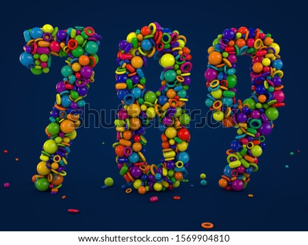 3D rendering numbers 7 8 9. Figures and symbols. Colorful balls. Multicolor shapes. number seven, number eight, number nine