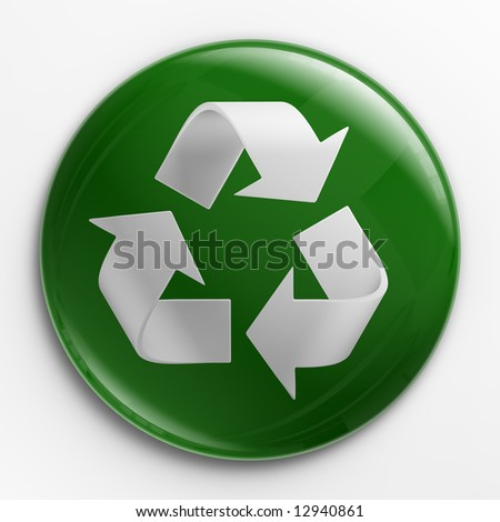3d rendering of a badge with a recycling logo