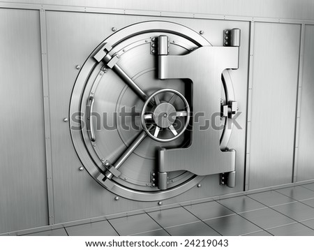 3d rendering of a bank vault - stock photo