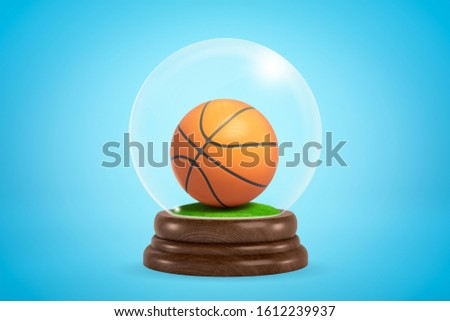3d rendering of a basketball inside snow globe on light blue gradient background. Sports and games. Sports souvenirs. Sports equipment.