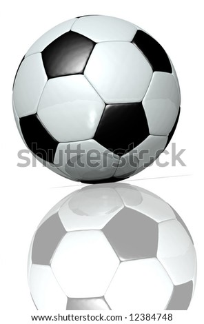3d rendering of a black and white football - stock photo