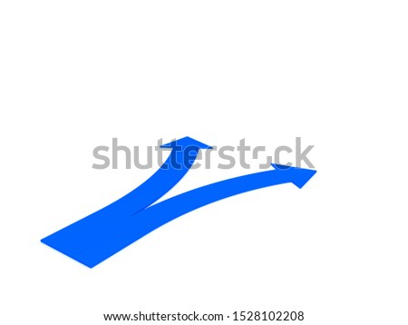 3D Rendering of a blue arrow splitting in two pathways. 3D Rendering isolated on white.