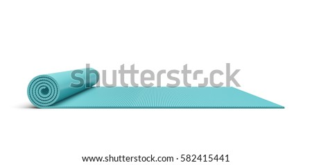 3d rendering of a blue half rolled yoga mat isolated on white background. Fitness and health. Exercise equipment. Yoga and pilates.