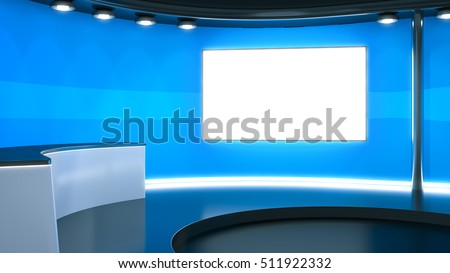 3d rendering of a blue television studio background