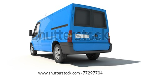 3D rendering of a blue transportation van with no brand name (rear view)