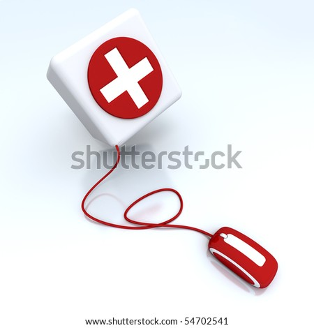 3D rendering of a box with a cross in red and white connected to a computer mouse